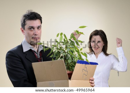 sad man and happy manager in background - stock photo