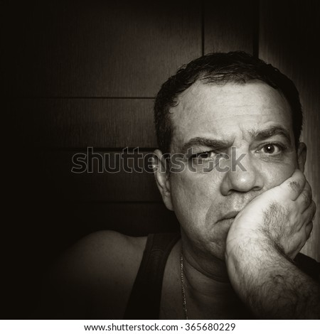 Sad man. Black and white photo.Series