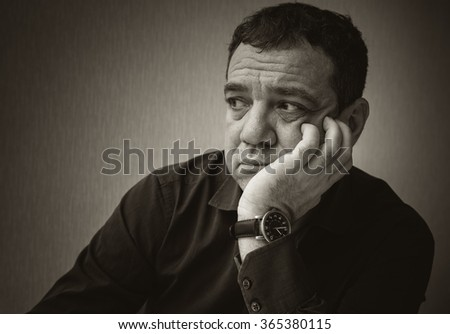 Sad man. Black and white portrait