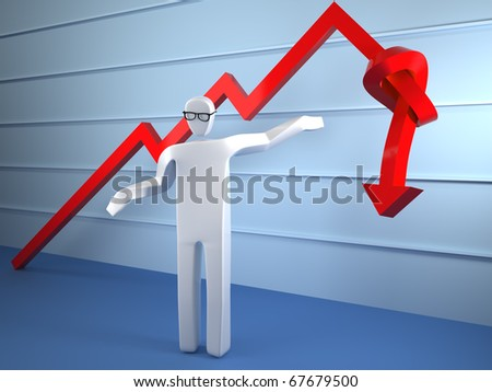 sad man in front of line chart tied to knot - stock photo