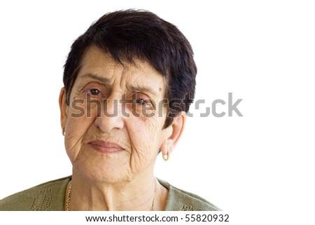 Sad Old Woman Portrait - stock photo
