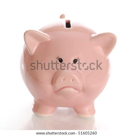 sad or frowning piggy bank money box with reflection on white background - stock photo