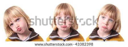 sad or upset child isolated on white. blond boy kid show emotion of sadness or depression - stock photo