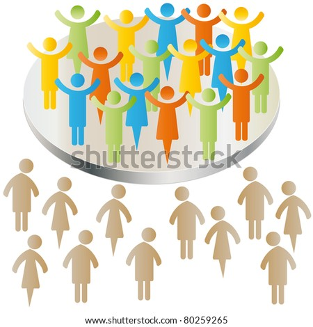 Sad peoples exclusion with group - stock photo