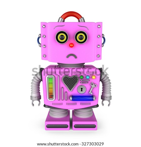 Sad pink toy robot girl looking at camera over white background