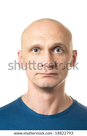 Sad. Portrait from bald man facial expressions series. Isolated on white