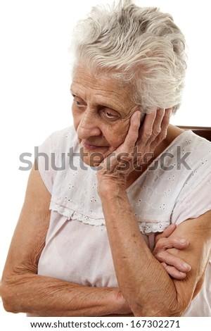 Sad 90's Elderly - stock photo
