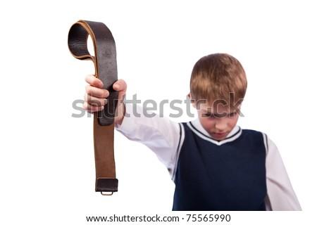 Sad schoolboy and punishment, isolation on white - stock photo