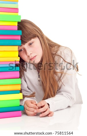 sad schoolgirl with learning difficulties, isolated on  background - stock photo