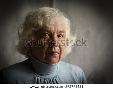 Sad senior caucasian woman - stock photo