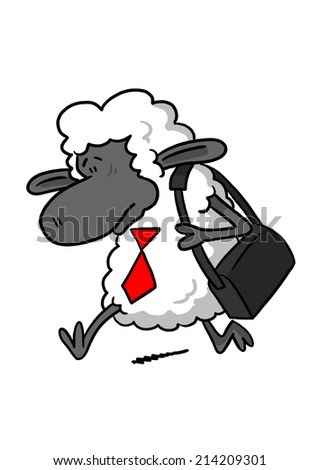 Sad Sheep Going to Work - stock photo