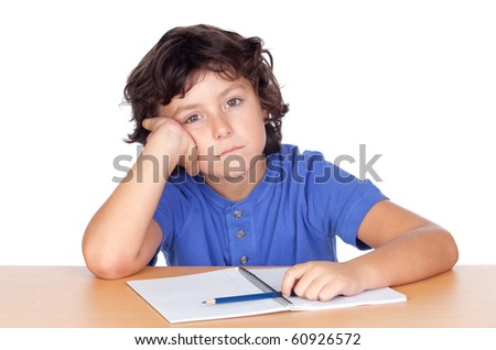 Sad small student isolated on a over white background - stock photo