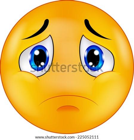 Sad smiley emoticon - stock photo