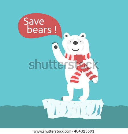 Sad smiling toy white polar bear with speech bubble. Environment, nature, animal, global warming and ecology concept - stock photo