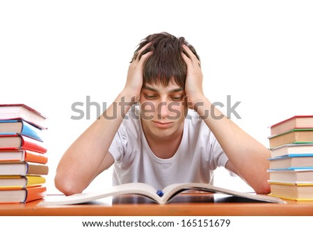 Sad Student after Hard Work for Exam on the White Background - stock photo