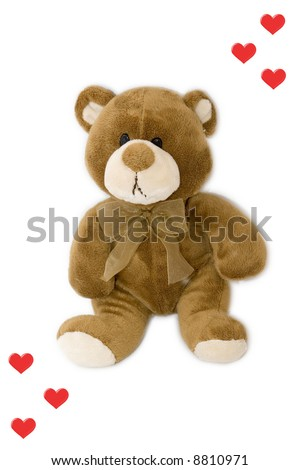 Sad teddy bear with red heart isolated on white - stock photo