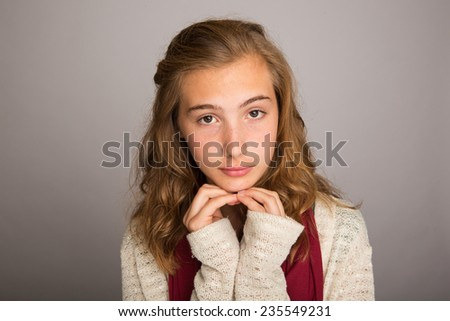 sad teenage girl - stock photo