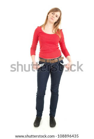 sad teenage girl showing she has no money by turning out her pockets, full length, white background