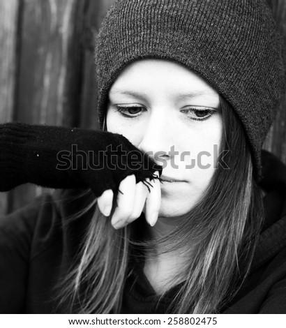 Sad teenager girl - stock photo