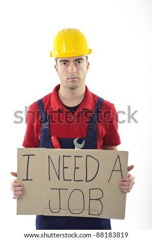 sad unemployed worker isolated on white background - stock photo
