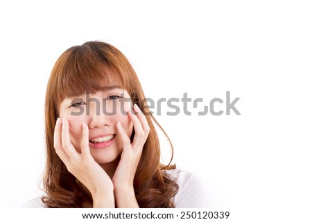 sad, unhappy, disappointed woman isolated, hand holding her cheek - stock photo
