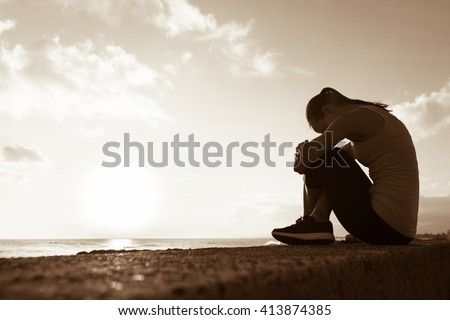Sad woman.  - stock photo