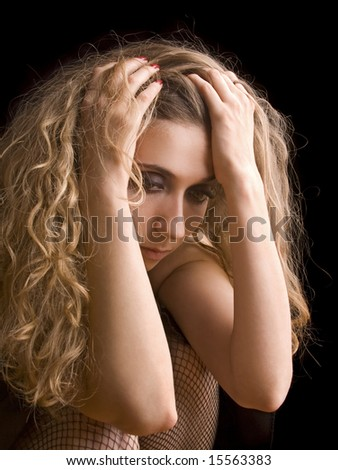 sad woman crying - stock photo