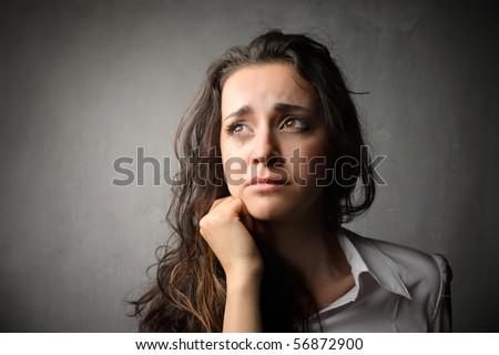 Sad woman crying - stock photo