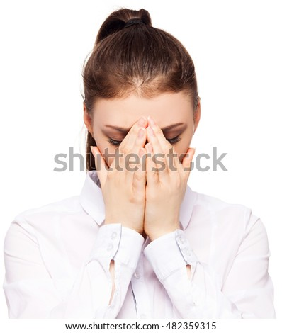 Sad woman. Female closed her hands her face