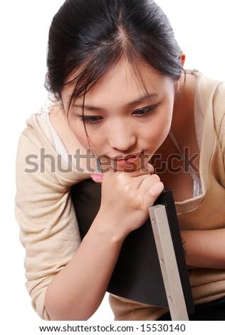 sad woman isolated on white background. - stock photo