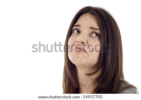 Sad woman looking down isolated on white background