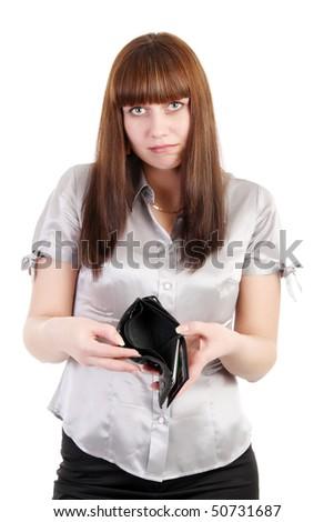 Sad woman shows an empty wallet - stock photo