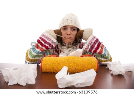 sad woman whit flu symptom and a thermometer in her mouth (isolated on white) - stock photo