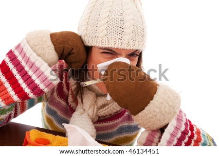 sad woman with flu symptom and a thermometer in her mouth (isolated on white) - stock photo