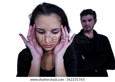 Sad woman with man on white background