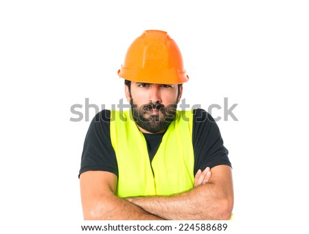 Sad workman over isolated white background