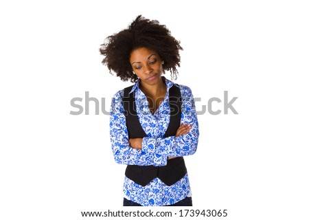 Sad young african american + isolated on white background - stock photo