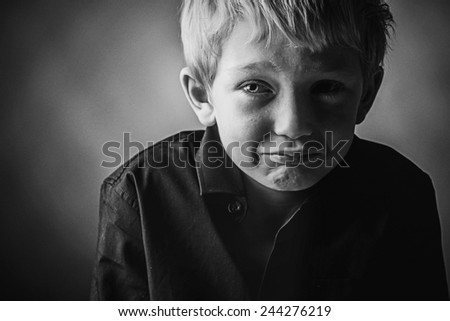 Sad Young Boy - stock photo