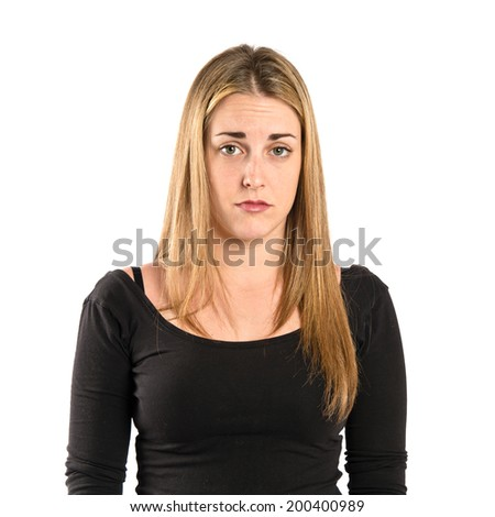 Sad young girl isolated over white background  - stock photo