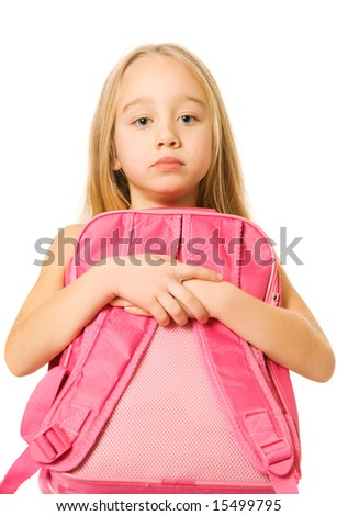 Sad young girl with a pink backpack - stock photo