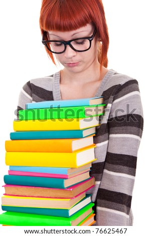sad young girl with stack color books, isolated on white background