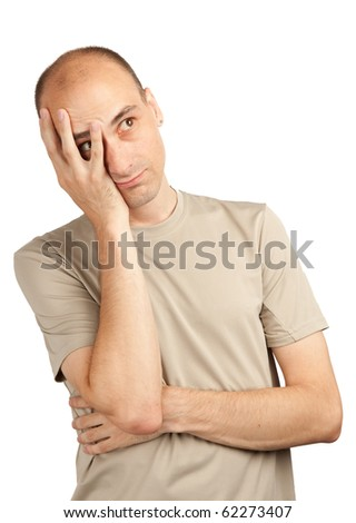 sad young man isolated on a white background - stock photo