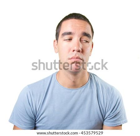 Sad young man thinking - stock photo