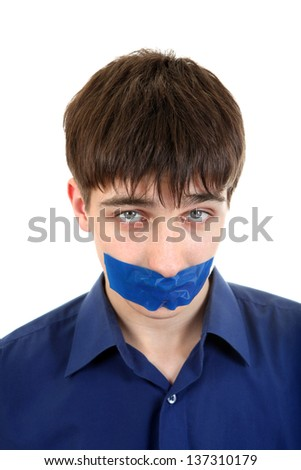 Sad Young Man with sealed mouth. Isolated on the White Background - stock photo