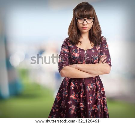 sad young-woman standing - stock photo