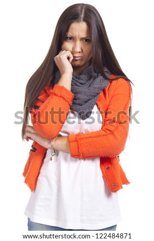Sad young woman unhappy - stock photo