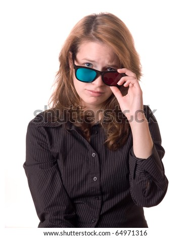 Sad young woman with anaglyph 3D glasses - stock photo