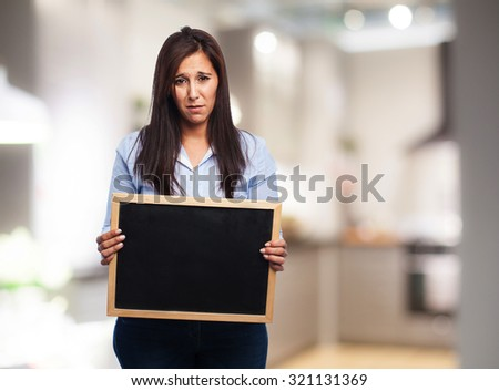 sad young-woman with cork-board