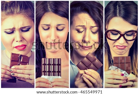 Sad young women tired of diet restrictions craving sweets chocolate. Human face expression emotion. Nutrition concept. Feelings of guilt