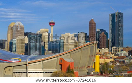 Saddle Dome with Calgary Sskyline, Alberta, Canada - stock photo